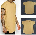 Men Khaki Tyga T-Shirt Fashion Irregular Solid Cotton Swag Tops Hip Hop Rap Creative Justin Bieber Clothing