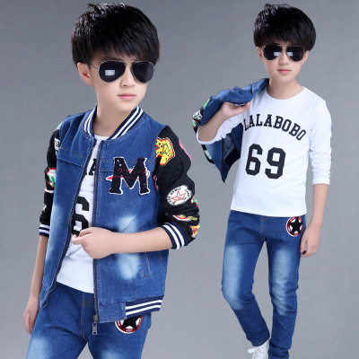 Children's suits 2018 spring new boys and girls cowboy suits cuhk fashion kids denim clothing sets baby clothes jean body suit children s clothing 2018 new girls spring denim clothes sets kids mesh dress suits personality suit baby child casual jackets
