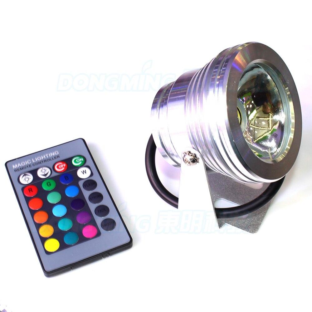 underwater swimming pool lights IP68 waterproof AC 85-265v 10W pond light rgb + 24key remote controller
