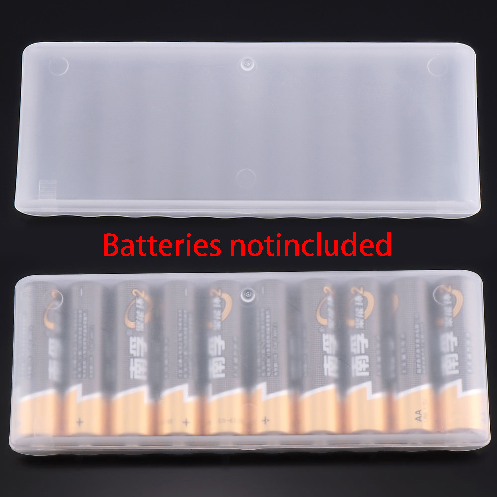 1PC White 10 Grid Battery Holder Case Organizer Container AA Batteries Storage Box Holder Hard Case Cover Battery Holder
