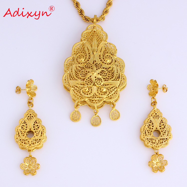Adixyn Gold Color Brass dubai Anniversary Wedding Jewelry African Necklace Earrings Pendant Jewelry set N08087