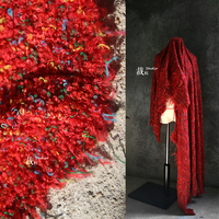 Red cherry woven woolen fabric,perspective designer cloth lace fabric Wedding Dress Tulle Material fabrics for patchwork