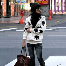 Skull Print Hoodies Women Plus Size Korean Casual Cotton Zip-Up Coat Hooded Long Sleeve Zipper Loose Sweatshirts Autumn**(China)