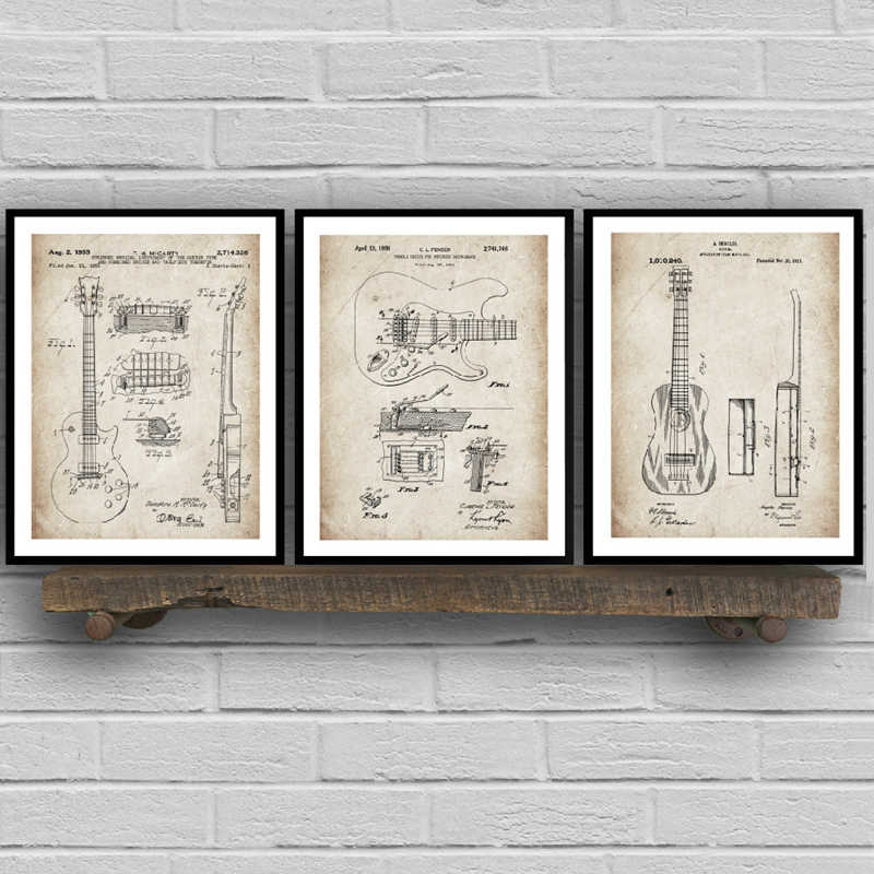 Guitar Patent Blueprints Vintage Posters And Prints Music Wall Art Canvas Painting Retro Pictures for Living Room Home Decor