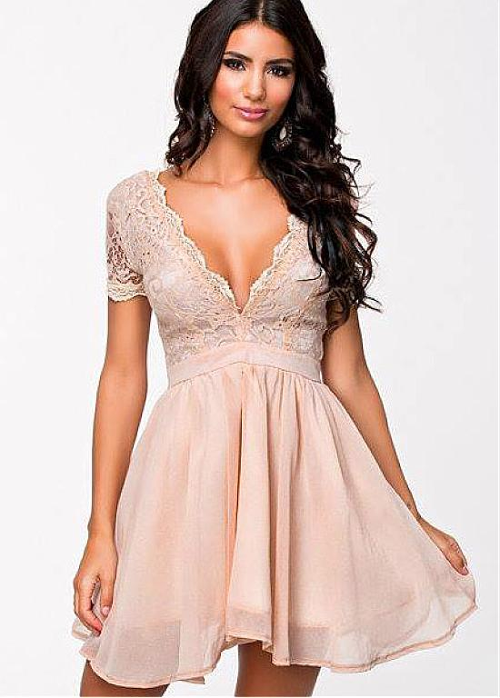Cheap Chiffon V neck Neckline A lineShort Prom Dress Evening Gown ...