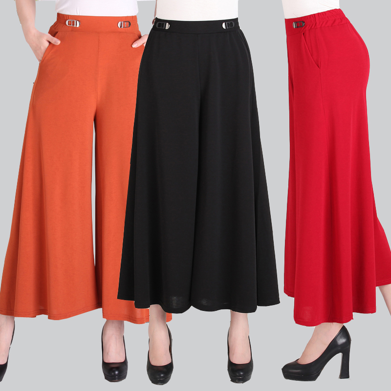 Summer female elastic waist high waist   pants   Ma mother   pants   middle and old   wide     leg     pants   women   wide     leg     pants   trousers women