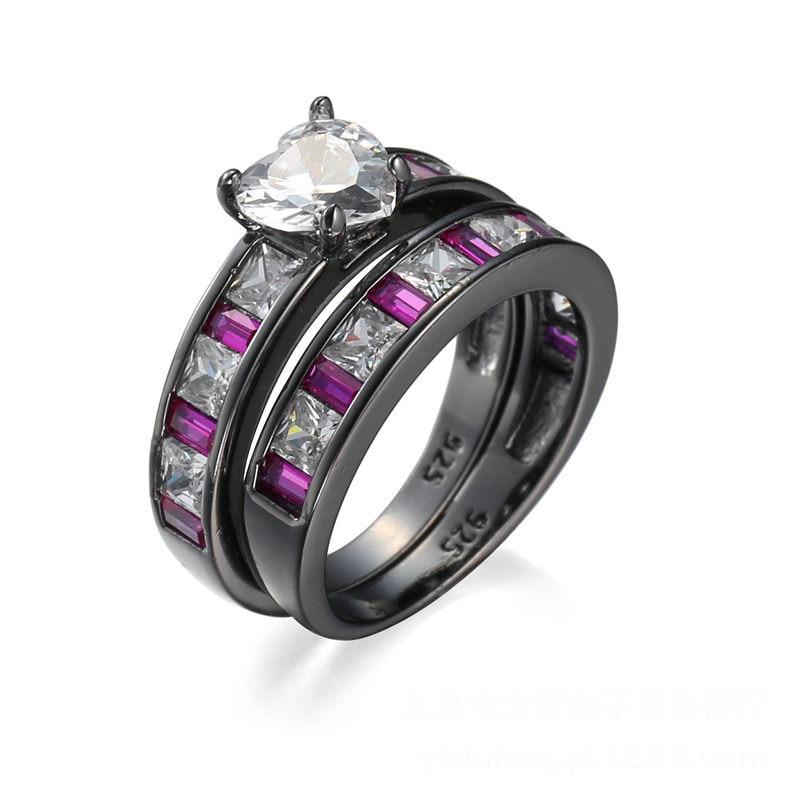 Pop style new purple white zircon ring fashion ladies ...