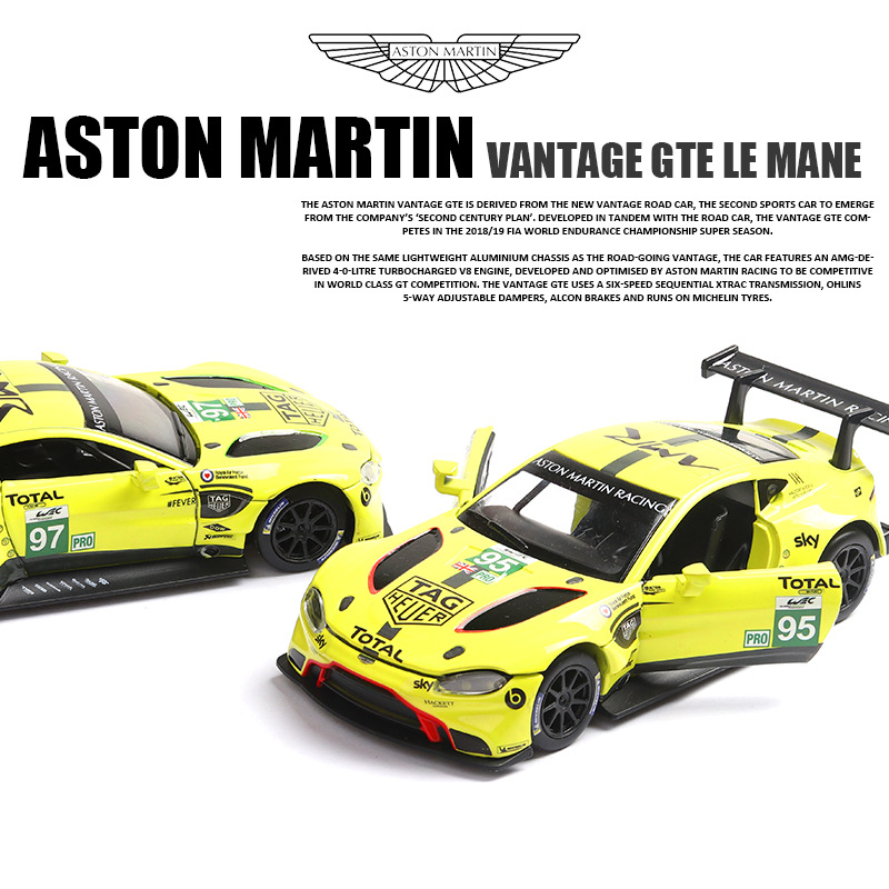 1:32 Metal Car Toy Diecast Metal Toy Model Car with Sound Light Diecast  Alloy Model Apply to Aston Martin Le Mans Racing