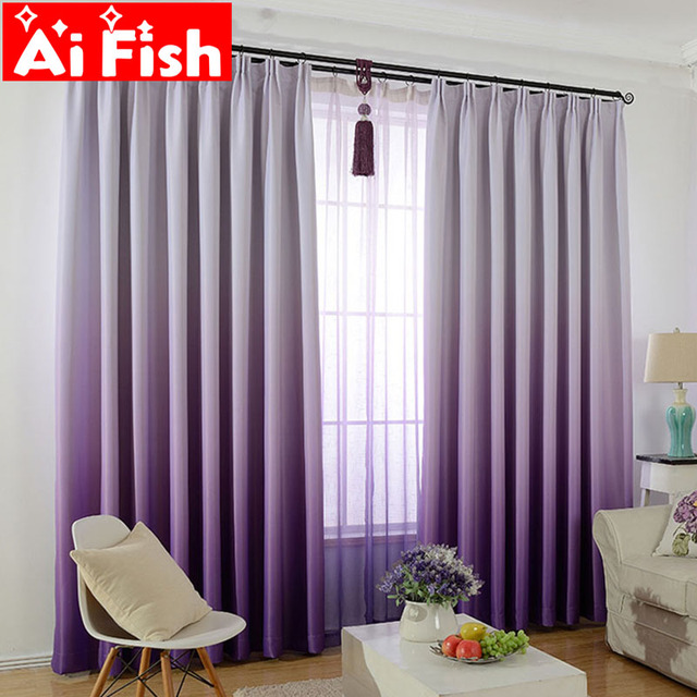 Purple Gradient Shade Curtains For Living Room Romantic Wedding Room Pink Bedroom Tulle Solid Gradient Shade Fabric  DF007-30