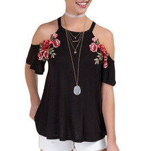 Women Embroidery Flower Strapless Short Sleeve Blouse Red Wine black Color (China) 92e6fa947c24
