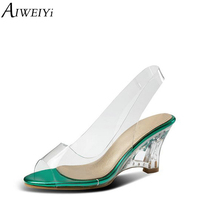 AIWEIYi Women Sandals Clear PVC Wedge Heel High Heels Gladiator Sandals Red Green Sandal Shoes Woman Slip On Dress Party Pumps
