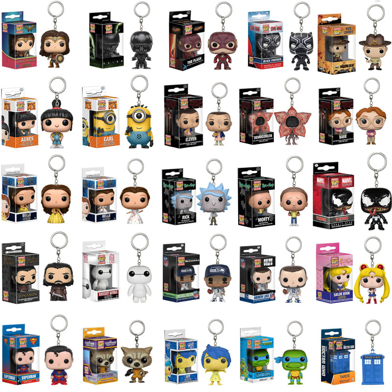 FUNKO POP New Arrival Marvel Venom Keychain Spider-man Chivalrous U.S.A Captain Harry Potter Key Chains With Retail Box(China)