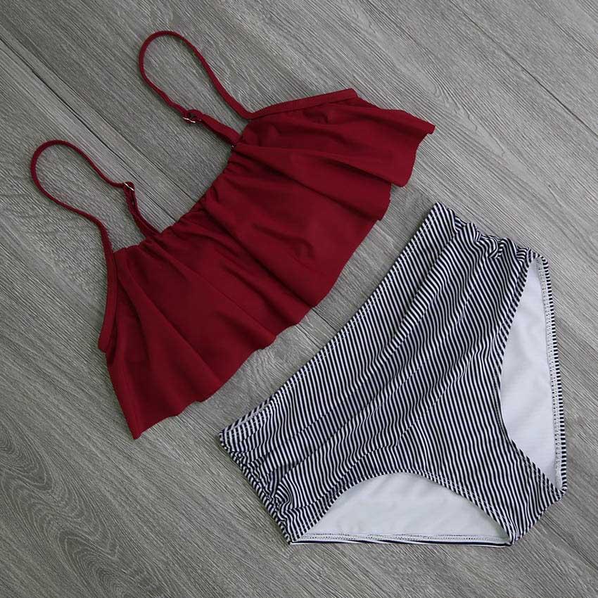 HTB18G8jiY1YBuNjSszhq6AUsFXaE 2018 Bikinis Women Swimwear High Waist Swimsuit Halter Sexy Bikini Set Retro Bathing Suits Plus Size Swimwear XXL
