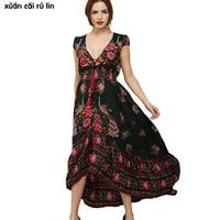 2017 Summer Hot Sale Womens Long Elegant Beach Flower Dress Retro Bohemian Maxi V Neck Floral