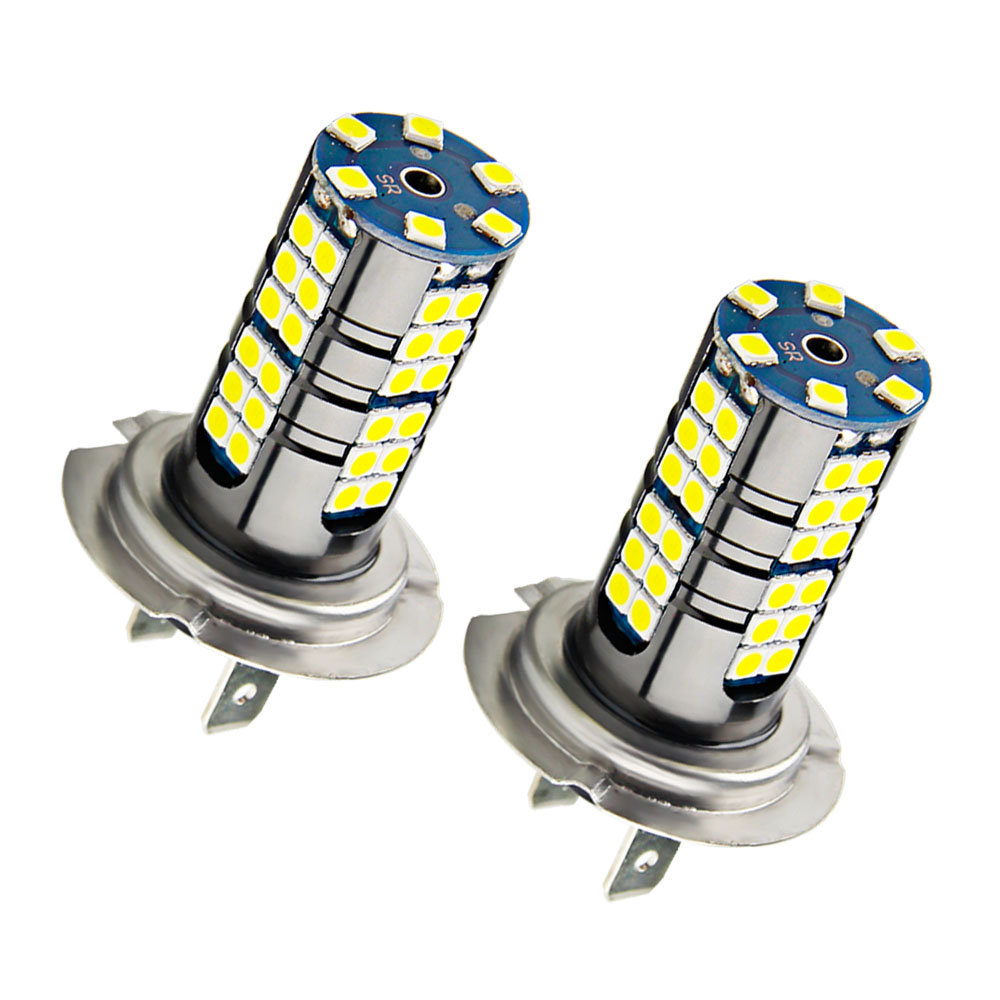 2X Super Bright <font><b>H7</b></font> Led Bulb <font><b>2000LM</b></font> Front Day Driving Lamp 54SMD 6000K White Auto Running Lights For Cars Fog Lamps DC 12V 24V image