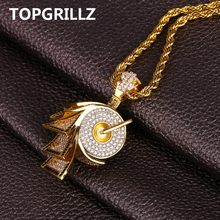 TOPGRILLZ Hip Hop Micro Pave Cubic Zircon Paper Necklaces & Pendant Full Iced Out Gold Color PlatedNecklace Jewelry 24 Inch(China)