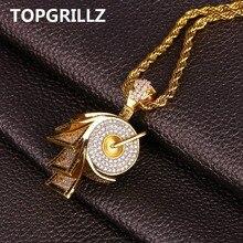 Topgrillz Hip Hop Micro Mở Đường Cubic Zircon Giấy Cổ & Mặt Dây Chuyền Full Đá Ra Ngoài Màu Vàng Platednecklace Trang Sức 24 Inch