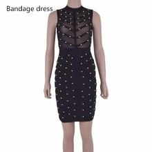 2017New Women Party Summer Dress Studded Button Olive Mesh Black Sleeveless Knee-length Bodycon Celebrity Runway Bandage Dress