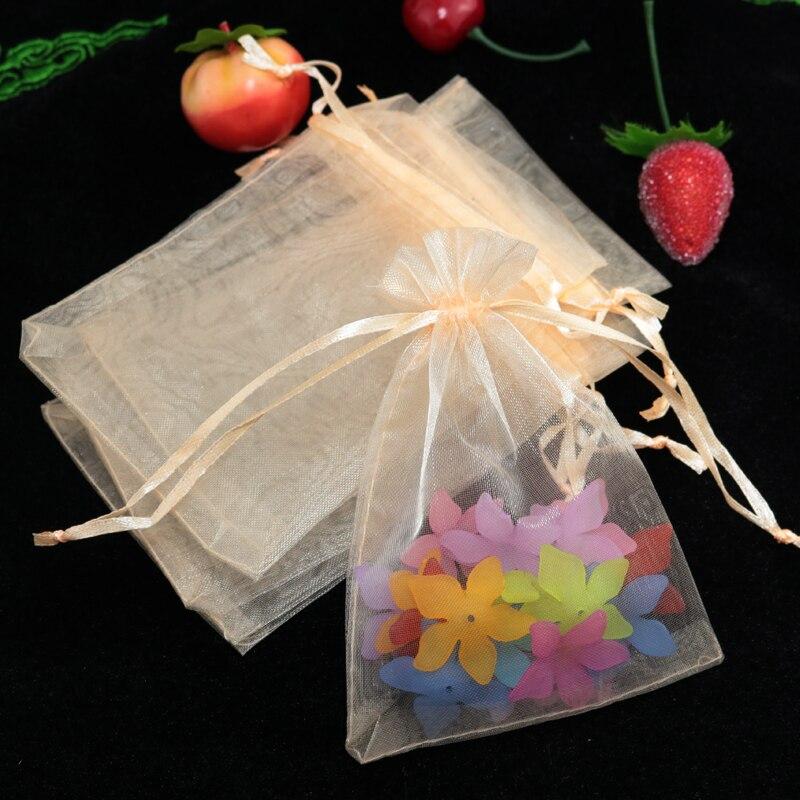 Оптовая продажа 100 шт./лот 7x9 см Drawable Champange цветные маленькие сумки из Органзы Свадебный Рождественский мешок для подарков, упаковка для ювел...