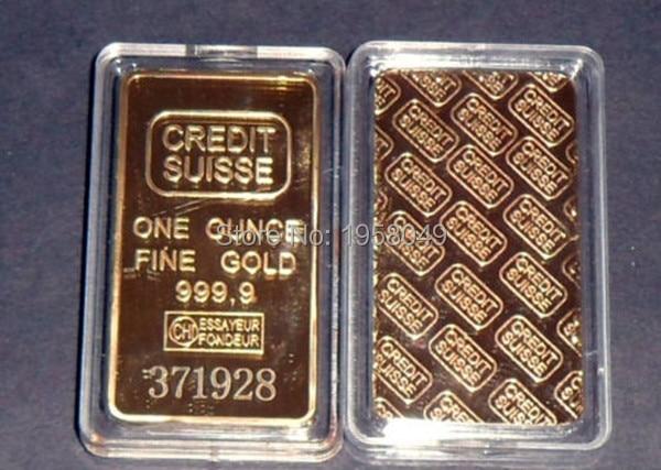 Wholesale 1oz 24ct Gold Plated CREDIT SUISSE Layered Bullion Bar Ingot Replica coin+Switzerland Fake Gold Bar.3pcs/lot