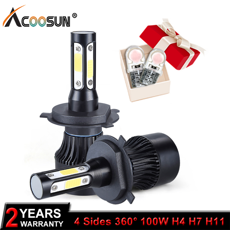 AcooSun 4 lados 100 W LED H4 alta baja y haz de luz H7 Led H8 H9 H11 9005 9006 HB3 HB4 faro LED de coche bombillas Auto Led faro 12 V 12 V