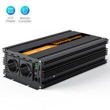 Inversor de potencia de onda sinusoidal pura, convertidor de 1500 vatios CC 24V a AC 220V 1500 w max 3000w con mando a distancia con cable