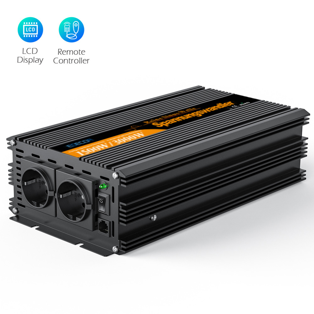 pure sine wave power inverter converter 1500 watt DC 24V to AC 220V 1500w max 3000w With wired remote controller