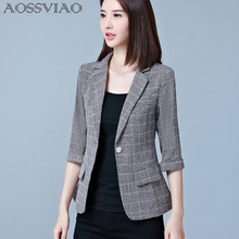 AOSSVIAO 2019 New Blazers Feminino Womens Plaid Three Quarter Business Suits Autumn All-match Woman Jackets Slim Blazer Suit
