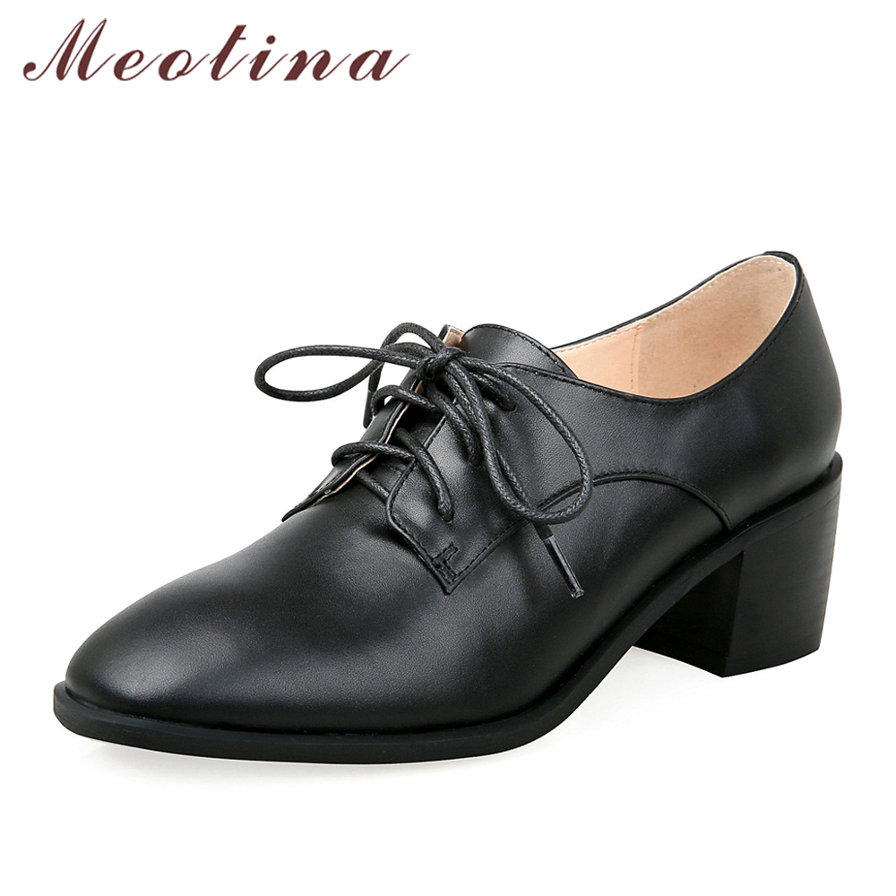 Meotina Genuine Leather Women Shoes High Heels Female Pumps Lace Up Thick Heels Ladies Shoes 2018 Spring Shoes Black Big Size 40 meotina genuine leather women shoes female plaid party shoes block heel bow strap high heels kid suede ladies pumps 2018 spring