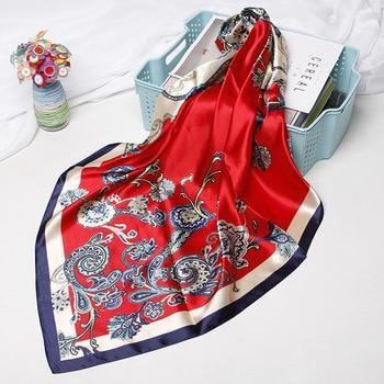 цена на Red Scarf Women 2019 Fashion Luxury Hijab Shawl Wraps Boho Bohemia Style Paisley Floral Print Soft Handkerchief Bandana 90x90cm