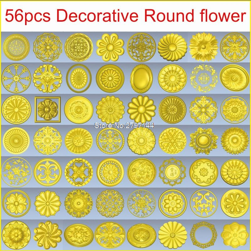 56pcs/set Decorative Round Flower 3d Model STL Relief For Cnc STL Format 3d Model For Cnc Stl Relief Artcam Vectric Aspire