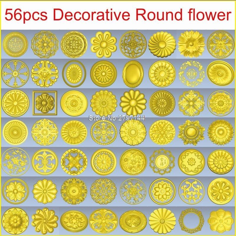 56pcs/set Decorative Round Flower 3d Model STL Relief For Cnc STL Format 3d Model For Cnc Stl Relief Artcam Vectric Aspire