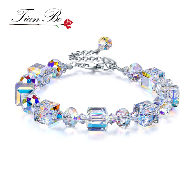 "TianBo Hot sales ""A Little Romance"" Square Glass Crystal-AB Bracelet Square Wishing Stone Luxury DIY Crystal Jewelry Women Gift"
