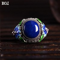 Filigree inlaid with cloisonne 925 silver lapis lazuli ring handicraft accessories