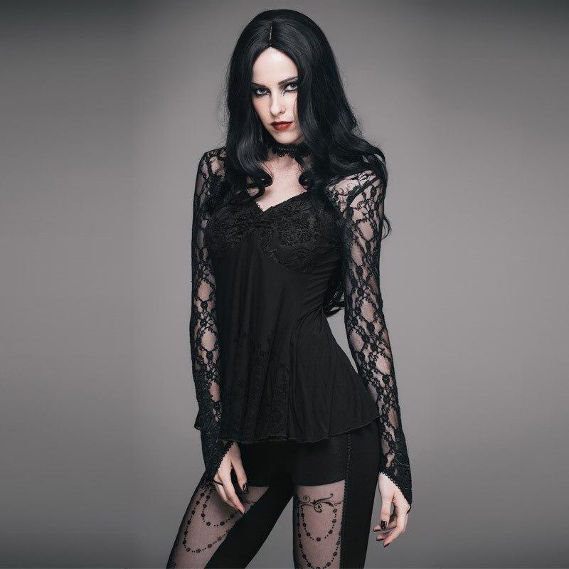 Nouveauté 2018 Steampunk haute qualité dentelle femme T-shirts col en v Punk Sexy Perspective fête gothique hauts voir à travers T-shirts