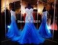 Vestido formatura impresionante cristalino de lujo vestido de novia sirena azul vestidos de noche rebordear mujeres vestidos de partido Formal