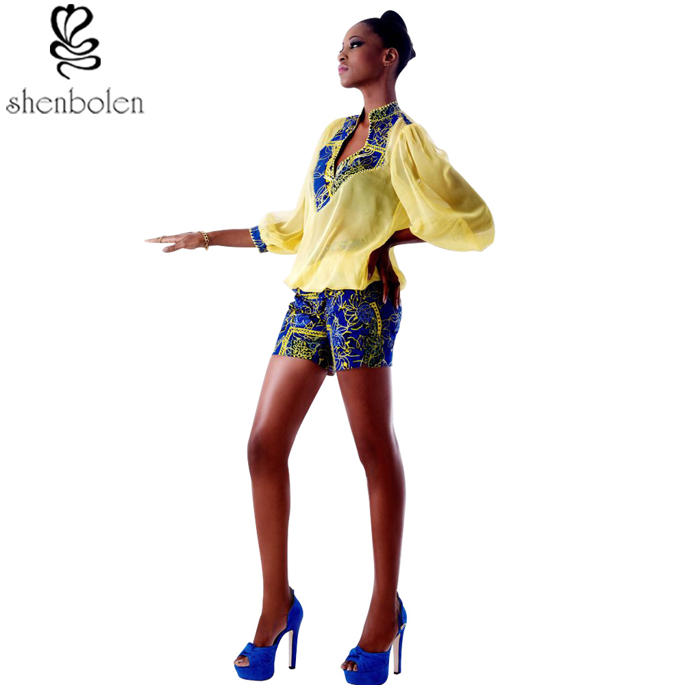 2017 African dresses for women ankara clothing wax printing chiffon stitching batik tops+short pants fashion suit fashion set