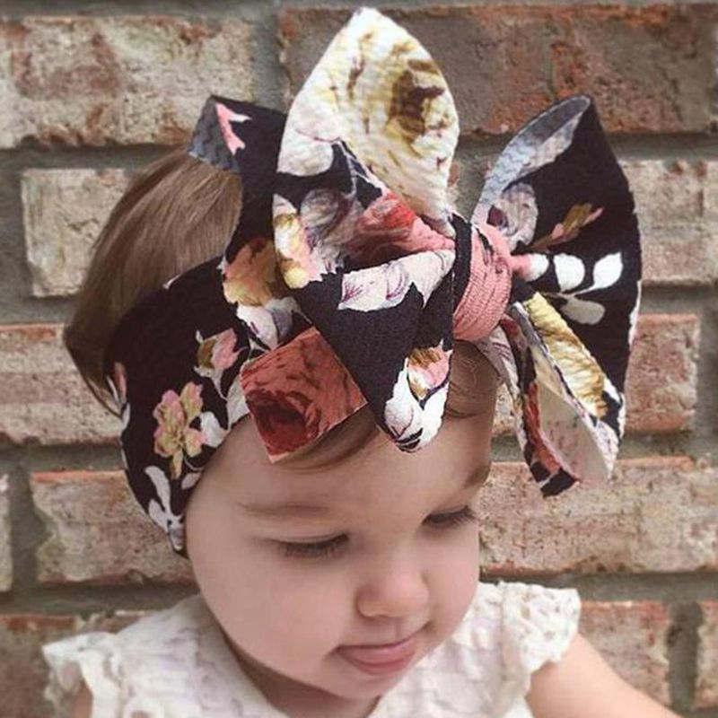 Flowers Baby Headbands Printed Bowknot Elastic Baby Turban Newborn Hair Accessories