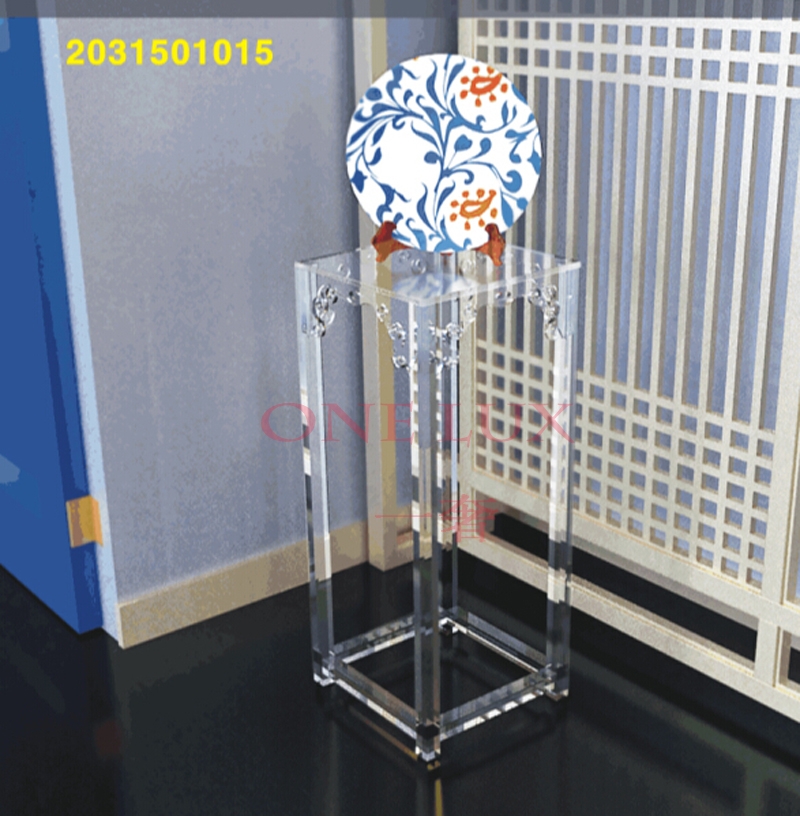 High Transparency Engraved Acrylic Sculpture Pedestal