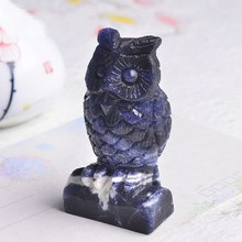 Wholesale 1PC Natural Owl Blue Sodalite Hand Carved Gemstone Animal Totem Statue Stone Sculpture Quartz Crystals Natural Stones