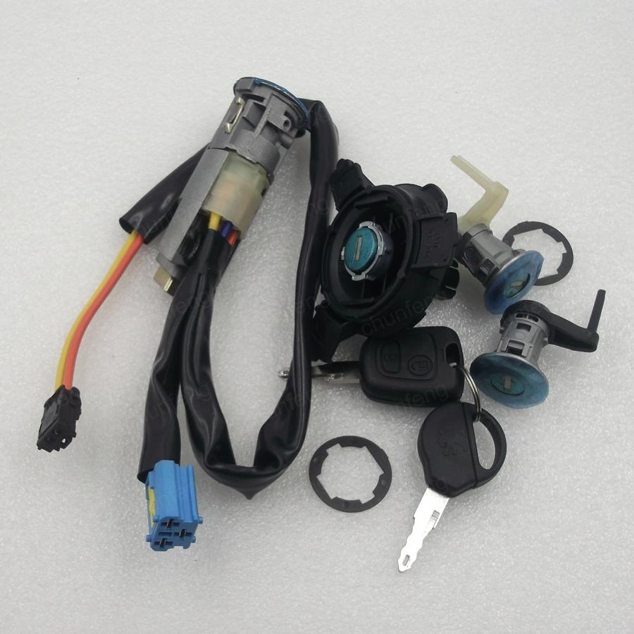 for Peugeot 206 207 full lock the ignition lock cylinder tank car door lock fuel tank lock Without chips