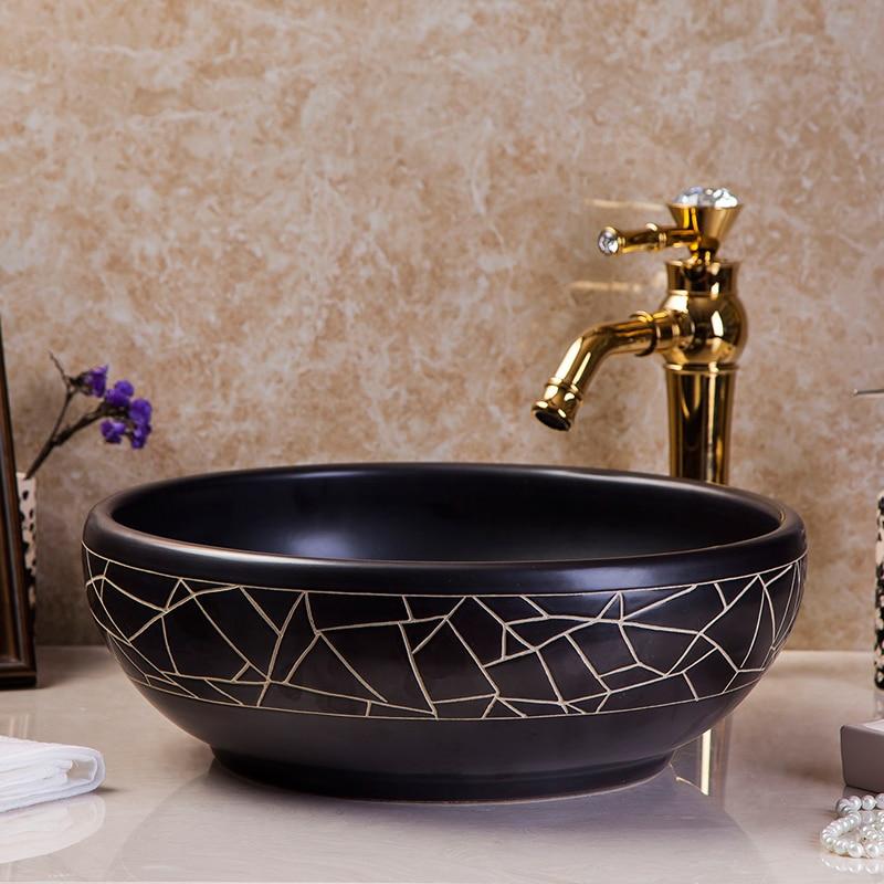 CounterTop Vessel Sink Square Black Wash Bowl Ceramic Bathroom Vanity Art Basin