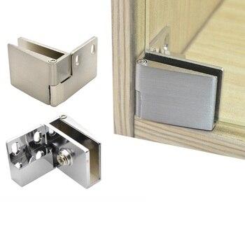 1 par (1 parte inferior + 1 parte superior)/lote bisagra de puerta de vidrio sin marco pivote vitrina de vino