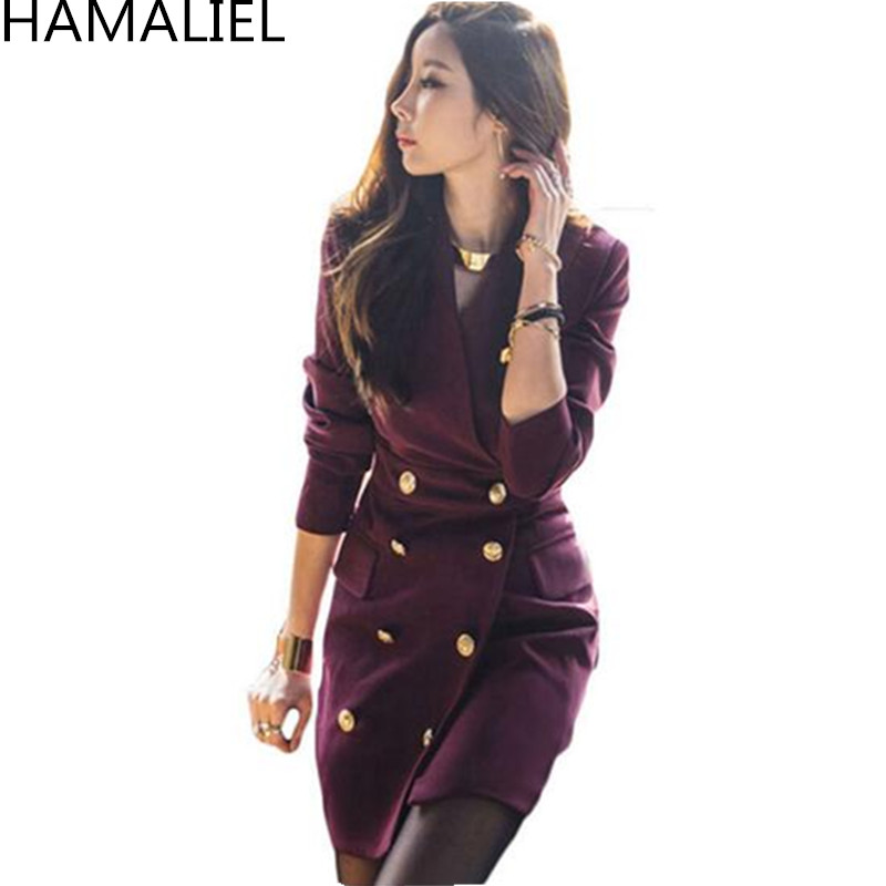HAMALIEL New Fashion 2018 Autumn Women Office OL Dress Korean Double  Breasted Long Sleeve Female V Neck Formal Pencil Dress-in Dresses from  Women s Clothing ... c6907bd0b202