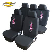 Flower Embroidery Car Seat Cover Universal Fit 9PCS Car Seat Protector For Front And Rear Seat