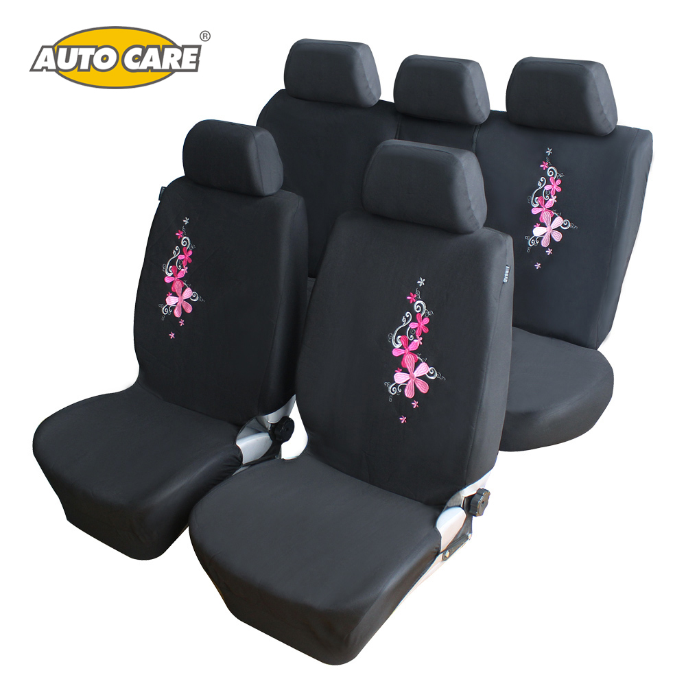 flower embroidery car seat covers universal fit 9pcs full set car seat protector for front. Black Bedroom Furniture Sets. Home Design Ideas