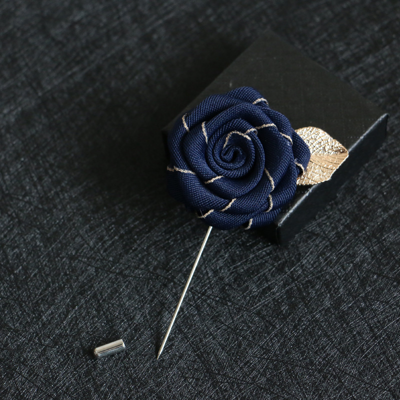 i-Remiel High-end Ribbon Rose Brooch Leaf Flowers Long Needle Pins and Brooches for Men Suits Shirt Collar Jewelry Accessories