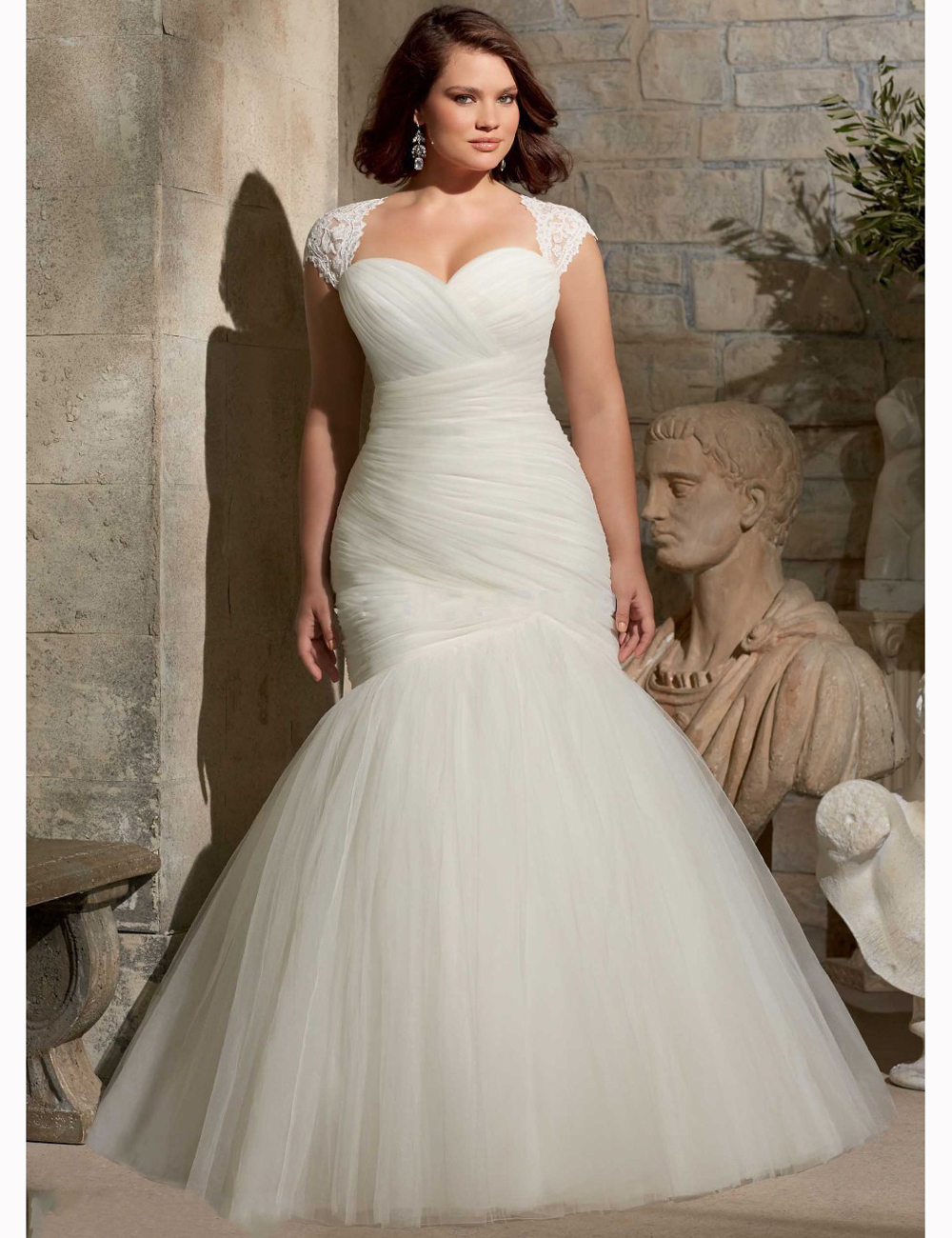 Cap sleeves corset back court train sweetheart wedding for Plus size mermaid wedding dresses with sleeves