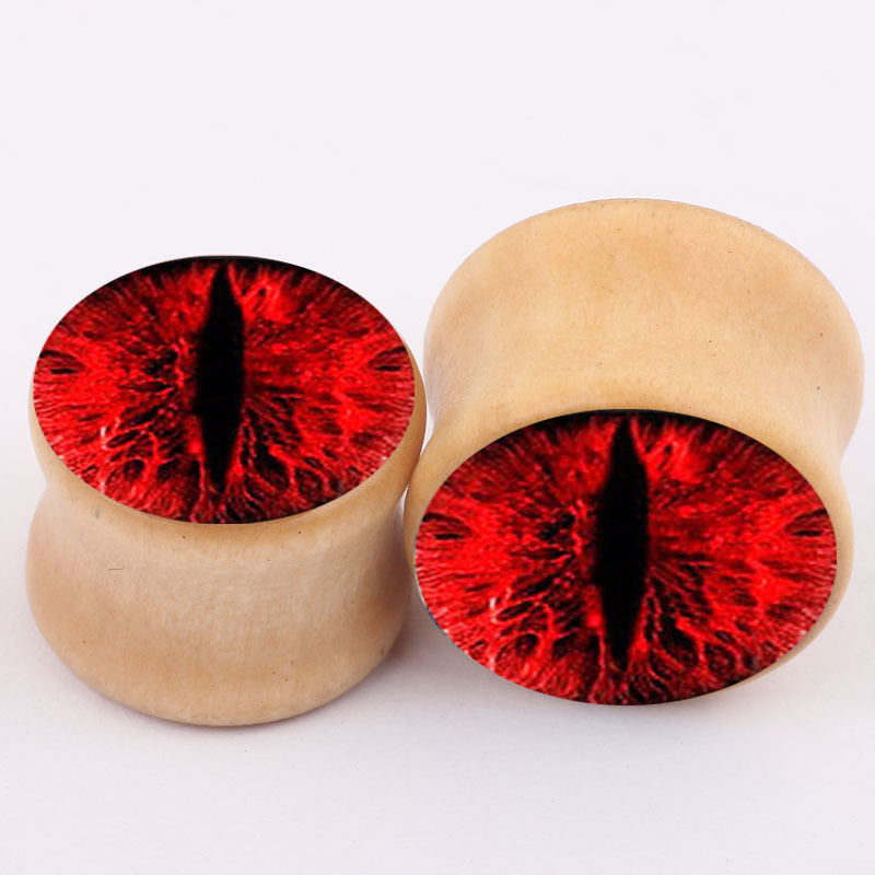 2pcs Blood red eyes fashion font b earrings b font plugs and tunnels piercing jewelry ear