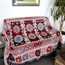 Bohemia geometría Vintage manta doble cara algodón tejido tapiz de pared sofá toalla cama cubierta felts alfombra Casa de Campo Decoración
